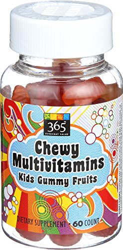 365 Everyday Value, Chewy Multivitamins Kids Gummy Fruits, 60 Count -