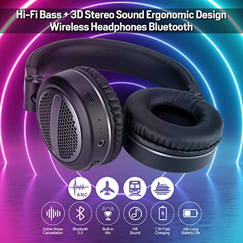 Bluetooth Headphones Over Ear, Olistone ANC Wireless Headphones with Bluetooth 5.0, HiFi Deep Bass, 3D Stereo, Protein Earpads, CVC6.0 Microphone, Wireless Wired Headset for Music, Game, Online Class