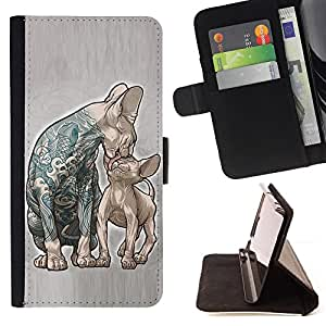 BullDog Case - FOR/HTC One M7 / - / CATS MOTHER KITTEN LOVE INK TATTOO BLUE /- Monedero de cuero de la PU Llevar cubierta de la caja con el ID Credit Card Slots Flip funda de cuer