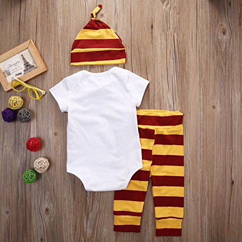 BANGELY Toddler Boys Girls Snuggle this Muggle Short Sleeve Romper and Striped Pants with Hat,0-6Months/70cm,Red