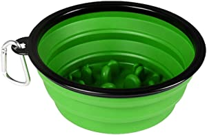EXTREMEWORLD Collapsible Slow Feeder Pet Dog Cat Puppy Silicone Travel Slow Feeding Bowl #CW03