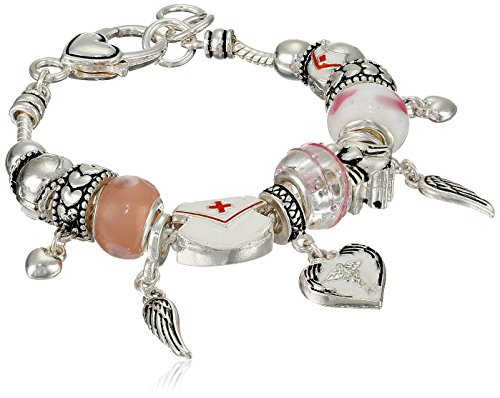 Nurse Enamel and Glass Beads with Metal Drops Charm Bracelet by Amazon Collection