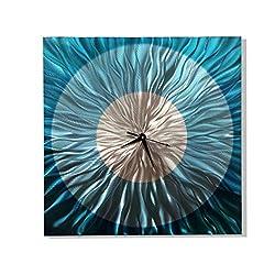 Statements2000 Modern Abstract Aqua Blue and Silver Wall Clock - Handmade Metal Wall Art Sculpture - Functional Art, Wall Decor - Aquatica Clock By Jon Allen - 24-inch
