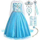 ReliBeauty Little Girls Snow Queen Princess Fancy Dress Elsa Costume with Accessories, 5, Blue