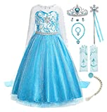 ReliBeauty Little Girls Snow Queen Princess Fancy Dress Elsa Costume with Accessories, 3T, Blue