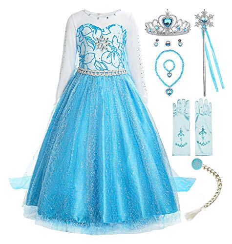 ReliBeauty Little Girls Snow Queen Princess Fancy Dress Elsa Costume with Accessories, 7, Blue -
