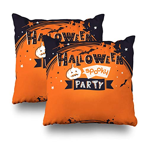 LALILO Set of 2 Throw Pillow Covers, Halloween Party Invit Banner Childish Castle Double-Sided Pattern for Sofa Cushion Cover Couch Decoration Home Gift Bed Pillowcase 18x18 inch