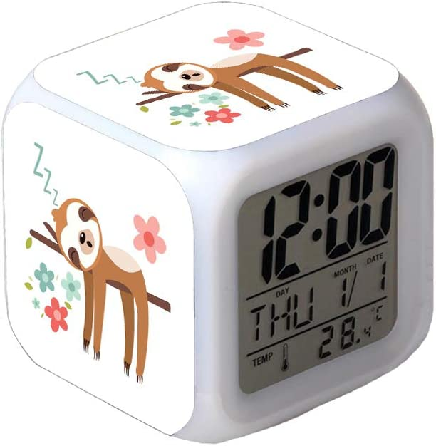 7Colors LED Changing Digital Alarm Clock Desk Thermometer Night Glowing Cube LCD Clock Home Decor Cute Sloth Illustration