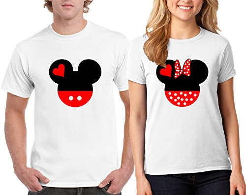 Mickey Minnie Head Lovely Matching T-Shirt Couple for Men and Women Adult (White-White/Medium-Small)]()