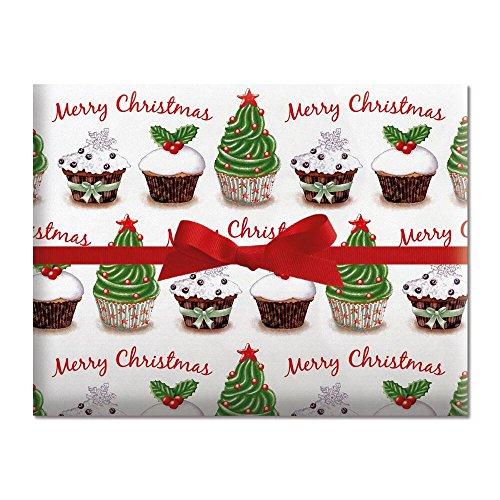 Cup Jumbo Tree Christmas (Christmas Cupcake Jumbo Rolled Gift Wrap - 67 sq. ft)