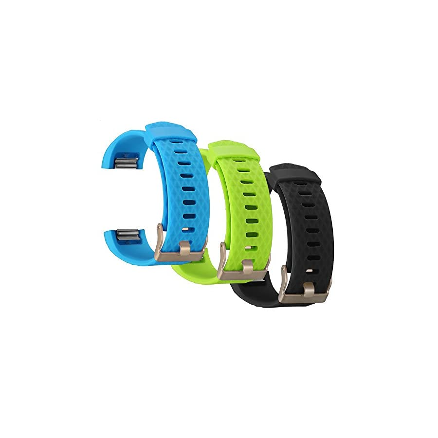 ESeekGo Compatible with Fitbit Blaze Bands, 3 Pack Silicone Band with 1 Pcs Metal Frame Compatible with Fitbit Blaze Replacement Sport Fitness Accessory Wristband (No Tracker)