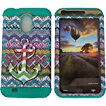 Cellphone Trendz Hybrid Rocker Case for Samsung Galaxy S2 EPIC 4G TOUCH D710 R760 for SPRINT/BOOST MOBILE/VIRGIN MOBILE/US CELLULAR – Teal Silicone with Hard Multi Color Chevron Tribal Anchor Design