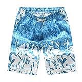 Aszune Printed Man's Swim Trunks, Quick Dry Beach Shorts Light Blue Trunks(3XL)