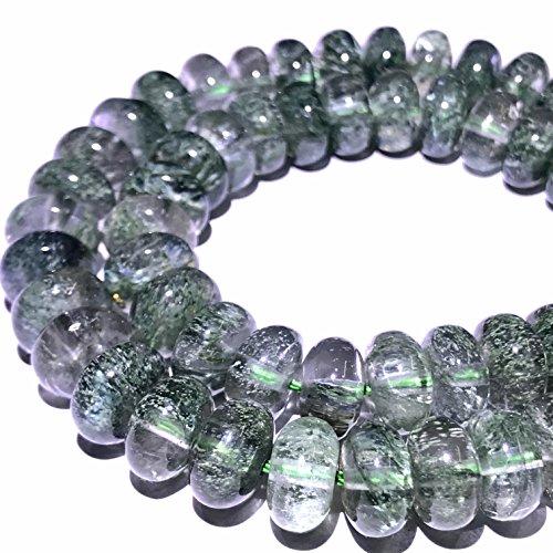 [ABCgems] Brazilian Green Actinolated Quartz AKA Moss Rutilated Quartz (Beautiful Inclusions) 8mm Smooth Rondelle Beads for Beading & Jewelry Making