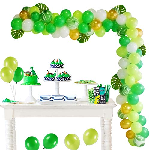 Jungle Safari Theme Party Supplies - Green Balloon Garland Arch,100 latex balloons, Palm Leaves, Arch Balloon strip tape, Safari party Supplies and Favors for Kids Boys Birthday Baby Shower Décor]()