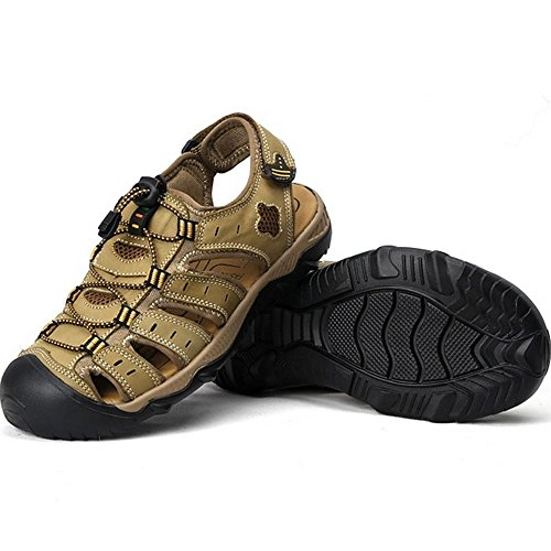 RVROVIC Leather Strap Mens Sandals Summer Gladiator Shoes US 6.5- US 12 Plus Size 3 Colors