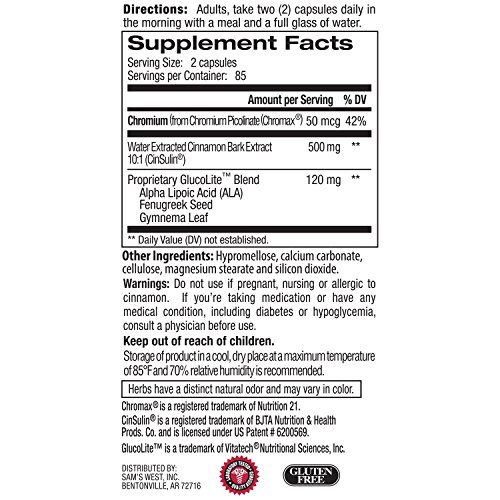 Member s Mark Concentrated Cinnamon with Clinicall Proven CinSulin Water Extract of Cinnamon 500mg plus Chromium GlucoLite Blend 1 bottle 170 capsules