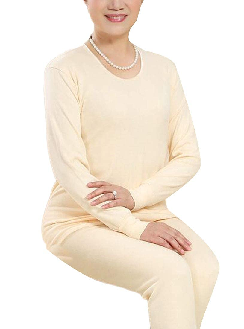 JSY Womens Top and Bottom Long Johns Sets High Rise O-Neck Thermal Underwear