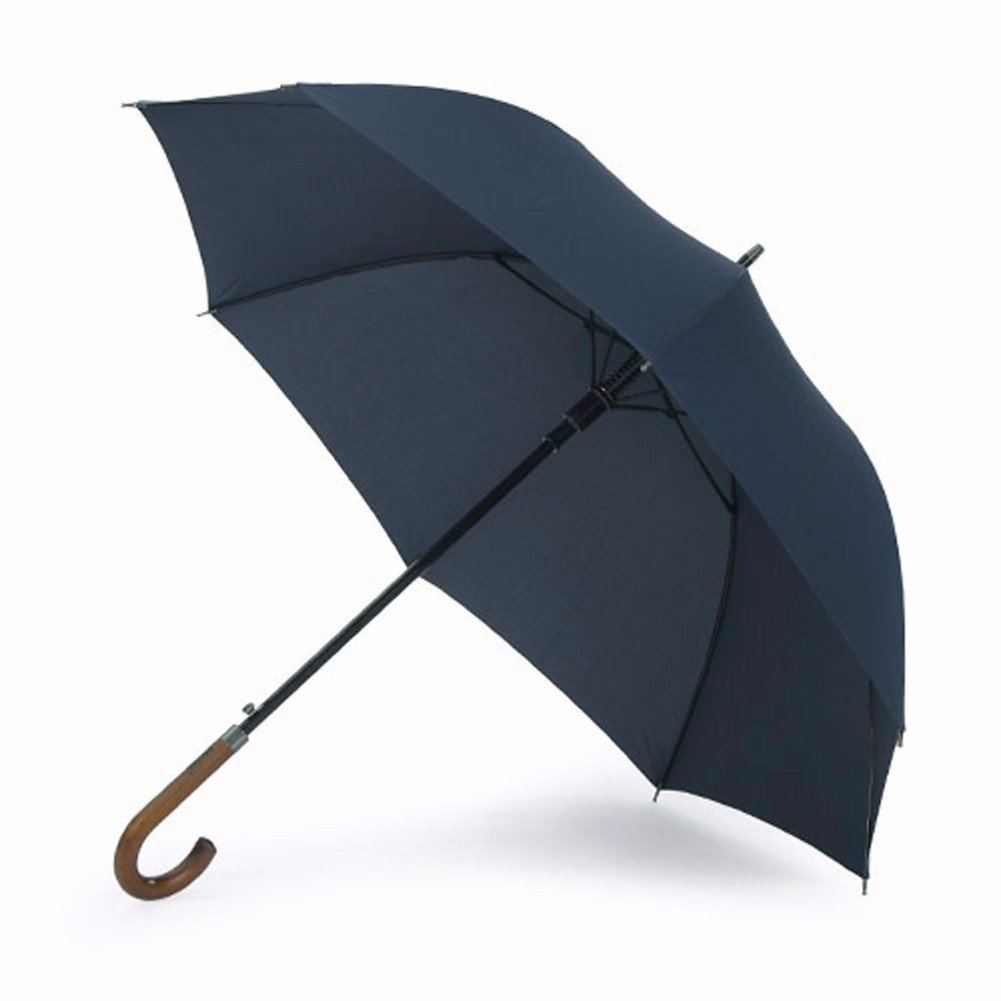 SSBY Japanese automatic umbrella with wooden handle strong wind long handle high force GE business men bar explosion-proof umbrella,Blue