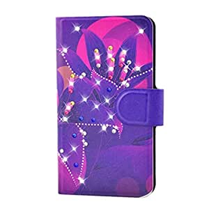 Generic Rhinestone Purple Leaves Flower Design Card Slot Magnetic PU Leather Flip Case Cover Compatible For Samsung Galaxy S4 SIV I9500