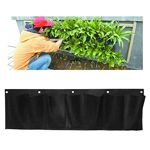 Garden 7 Pockets Hanging Planter Bags,Horizontal Wall Plant
