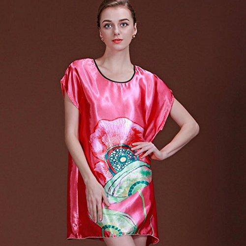 ZC&J La Sra casa de verano de ocio sueltos pijamas camisón de manga corta falda de baño atractivo sección delgada,B1,one size B2