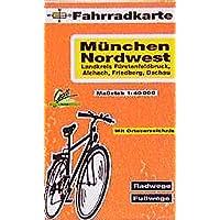Fahrradkarte München Nordwest, Lkr. Fürstenfeldbruck, Aichach, Friedberg, Dachau. 1:40000
