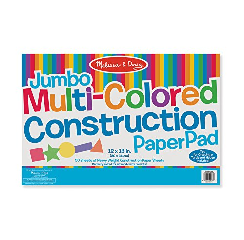 Melissa & Doug Jumbo Multi-Colored Construction Paper Pad (12 x 18 inches) With 50 Sheets -