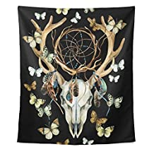 Animal Deer Skull Dreamcather Feathers and Butterfly Polyester Dorms Decor Tapestry Vertical Large 51x60 Inch Home Decorate