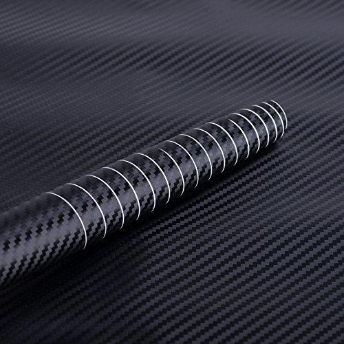 OrionMotorTech 3D Black Carbon Fiber Film Twill Weave Vinyl Sheet Roll Wrap - 60