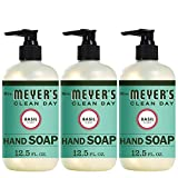 Mrs. Meyer's Clean Day Liquid Hand Soap, Basil Scent, 12.5 Fluid Ounces, Pack of 3