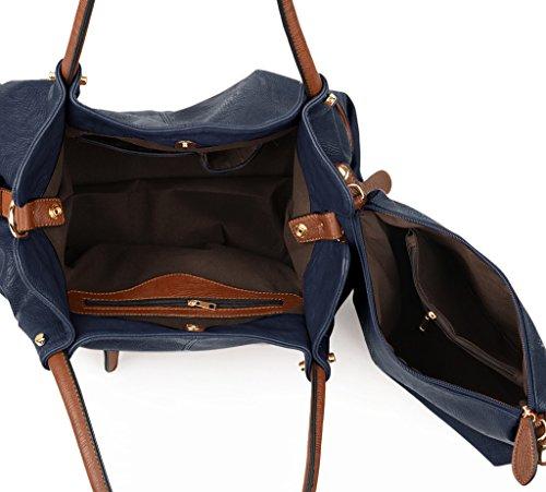 UTO Mujer bolso de mujer conjunto 3 piezas de bolsa de cuero PU bolsos de hombro pequeño bolso de bolsos correa de la bolsa de albaricoque Azul