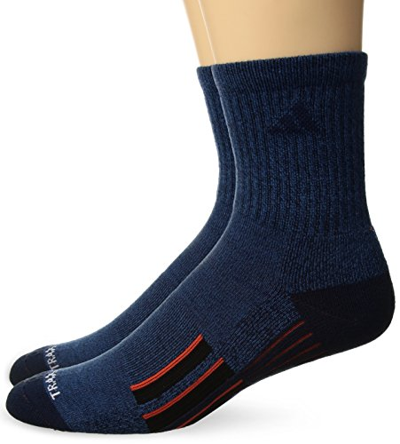 Navy Pack Crew Sock 2 (adidas Men's Climalite X II Mid Crew Socks (2-Pack), Denim Blue/Collegiate Navy/Energy/Black, Large)
