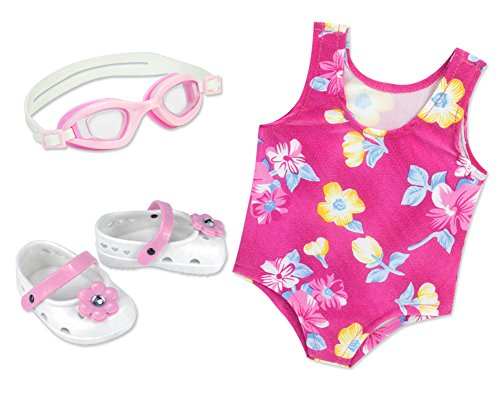 Floral Swimsuit Dolls Sandals Goggles product image