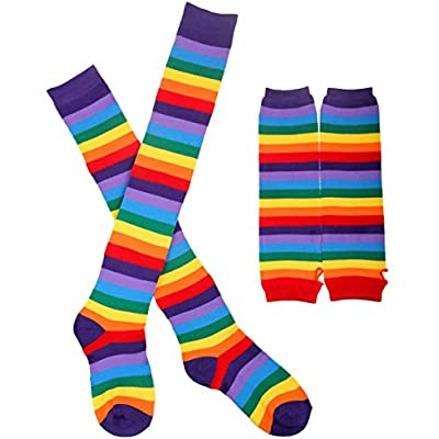 Chalier Womens Rainbow Striped Knee Thigh High Socks Arm Warmer Fingerless Gloves 2 Pairs(rainbow Set) One Size: Clothing
