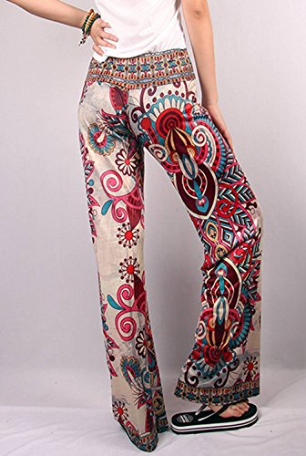 o Casual Large Longue Confortable Vogue Polyester Bigood Pantalon Imprimé Style nYqwpOtUz
