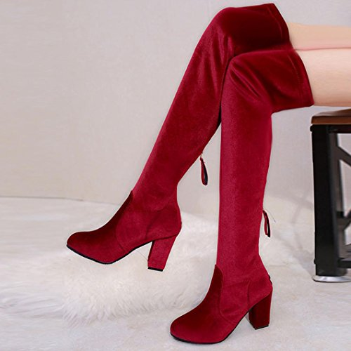 Kanzd Winter Fashion Women Thigh Slim High Boots Over The Knee Boot Stretch Flock High Heels Shoes (43, Red) Red