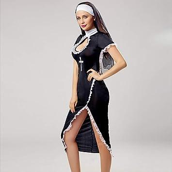 Disfraz de monja Mujer Traje de monja sexy negro largo Religión ...