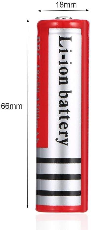 Bateria 18650 Pilas Recargables 3.7V 4200mAh Li-Ion BRC 1200Ciclos Larga Vida Bot/ón Superior 18650 Recargable Bater/ía para Linterna LED del Faro de la Antorcha 66 2 Piezas 18mm
