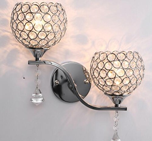 Best to Buy Modern Luxury Crystal Wall Light Chrome Finish Wall Sconce Lighting Fixture(E26 bulb not included) (2 heads) by BTB® (Image #2)