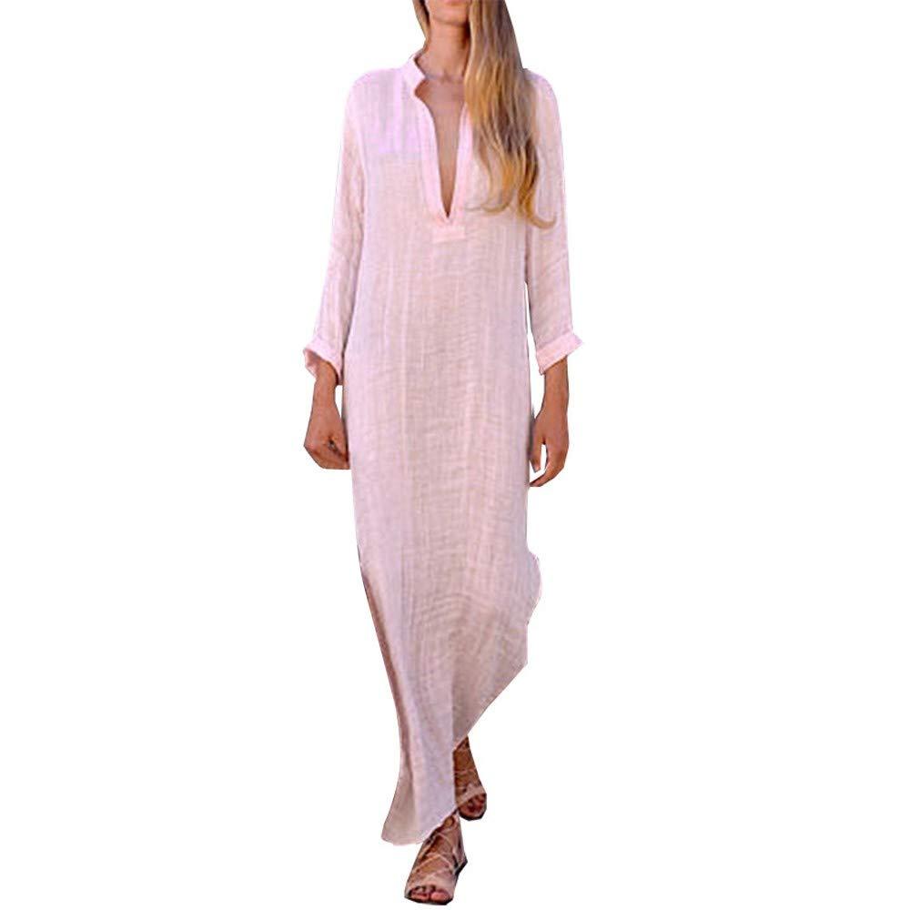 Pitauce Women Bohemian Summer Solid Color Long Sleeve Deep V Neck Dress Cotton Linen Loose Maxi Beach Dress Pink