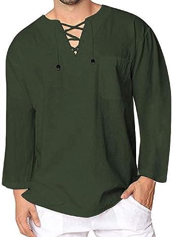 Jofemuho Camisa de Lino para Hombre, Informal, Manga Larga, Cuello en V, con Cordones, Estilo árabe - Verde - X-Large: Amazon.es: Ropa y accesorios