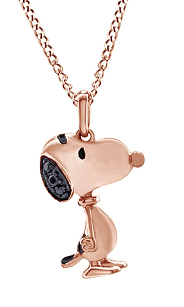 AFFY Black Natural Diamond Accents Snoopy Cartoon Pendant Necklace in 14k Gold Over Sterling Silver