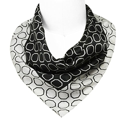 Price comparison product image Wrapables 100% Silk Neckerchief Square Scarf, Black and White Octagons