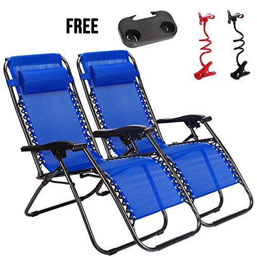 Idealchoiceproduct 2 Pack Zero Gravity Outdoor Lounge Chairs Blue Patio Adjustable Folding Reclining Chairs With Free Cup Drink Utility Tray   Cell Phone Holder Blue Color