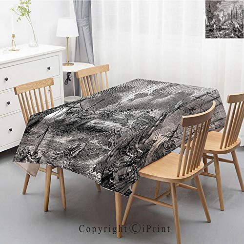 Washable Square Cotton Linen Print Tablecloth,Vintage Dinner Picnic Table Cloth Home Decoration Assorted Size,40x60 Inch,War Home Decor,Battle of Navarino Naval Armada Sinking Sailing Vessels War Port