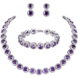 EVER FAITH Silver-Tone Round Cut Cubic Zirconia Tennis Necklace Bracelet Earrings Set Amethyst