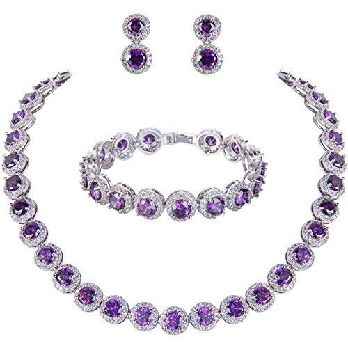 - EVER FAITH Silver-Tone Round Cut Cubic Zirconia Tennis Necklace Bracelet Earrings Set Amethyst Color