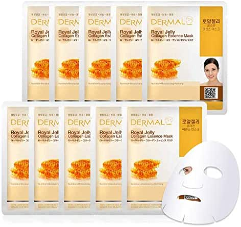 DERMAL Royal Jelly Collagen Essence Facial Mask Sheet 23g Pack of 10 - Moisturizing & Firming, Nourishing for Tired Skin, Daily Skin Treatment Solution Sheet Mask