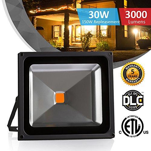 30W Outdoor LED Flood Lights, Waterproof IP65 Warm White 3000K 85-265V, Instant On, UL and DLC , 2400lm, 150W Halogen Equivalent, Floodlight for Garage, Garden, Lawn and (150w Halogen Floodlight)